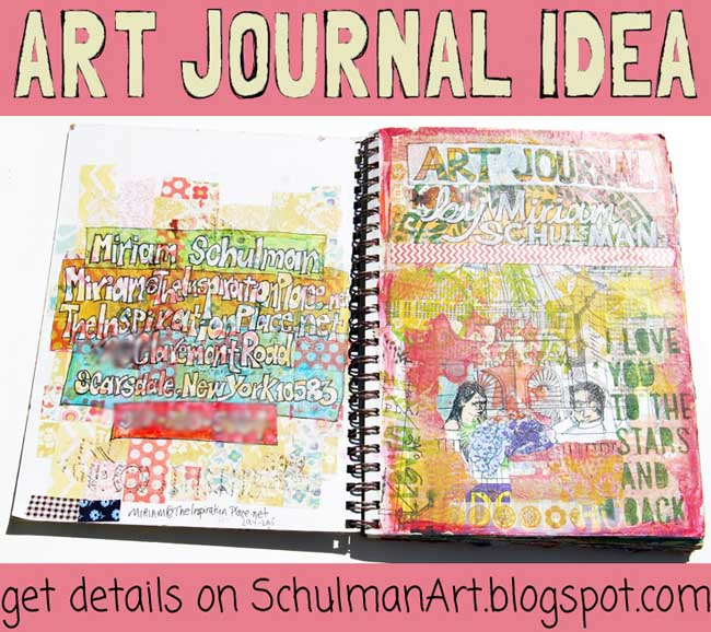 art journal inspiration   http://schulmanart.blogspot.com/2015/07/what-do-you-put-on-first-page-of-your.html