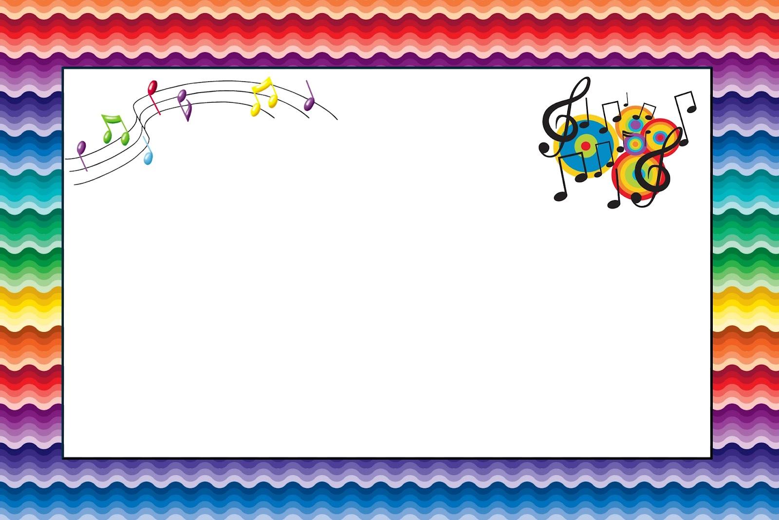 Notas Musicais - Kit Completo com molduras para convites, rótulos ...