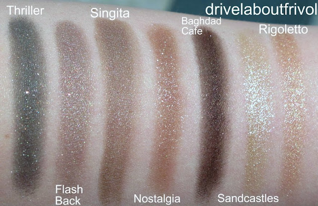 swatch Addiction eyeshadow 035P Thriller, 030ME Flash Back, 049P Singita, 015P Nostalgia, 018P Baghdad Café, 009P Sandcastles, 012ME Rigoletto