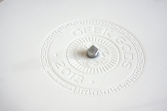 Letterpressed Greek Gods 2013 wall calendar designed by Dani Loureiro and Andrew Ringrose for Habari Media