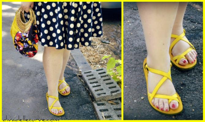 dettaglio sandali gialli in cuoio