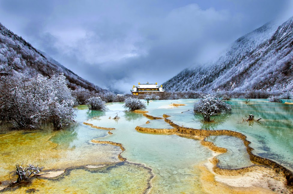 Huanglong – Unique Yellow Dragon Pools in China - Snow ...