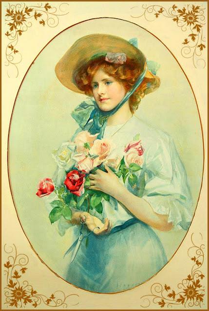 dama vintage con cesta de flores