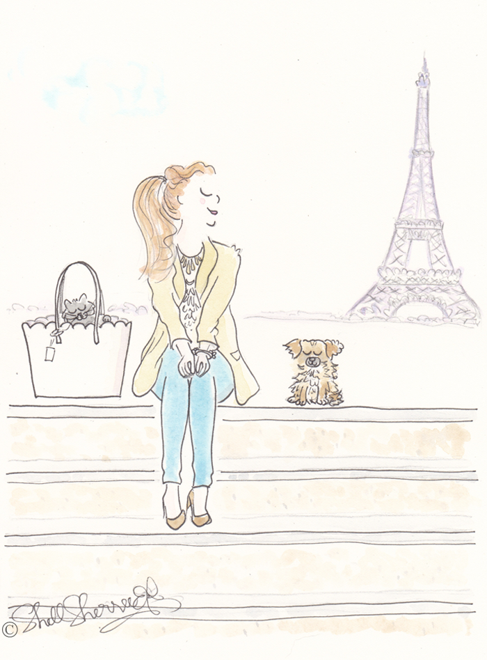 Paris fashion illustration : Paris Pastels au Casuale © Shell-Sherree