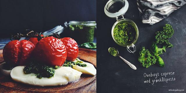 Ovnbagt Caprese med grønkålspesto - mit livs kogebog