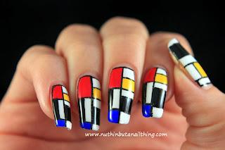 mondrian abstract nail art
