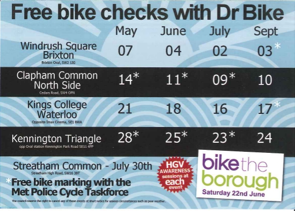 Lambeth Dr Bike flyer 2013 on lambethcyclists.org.uk