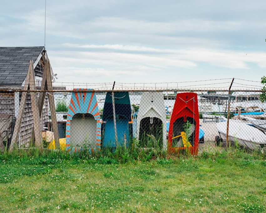 Portland, Maine June 2015 Dinghies lined up outside of Sail Maine on Eastern Waterfront. Photo by Corey Templeton.