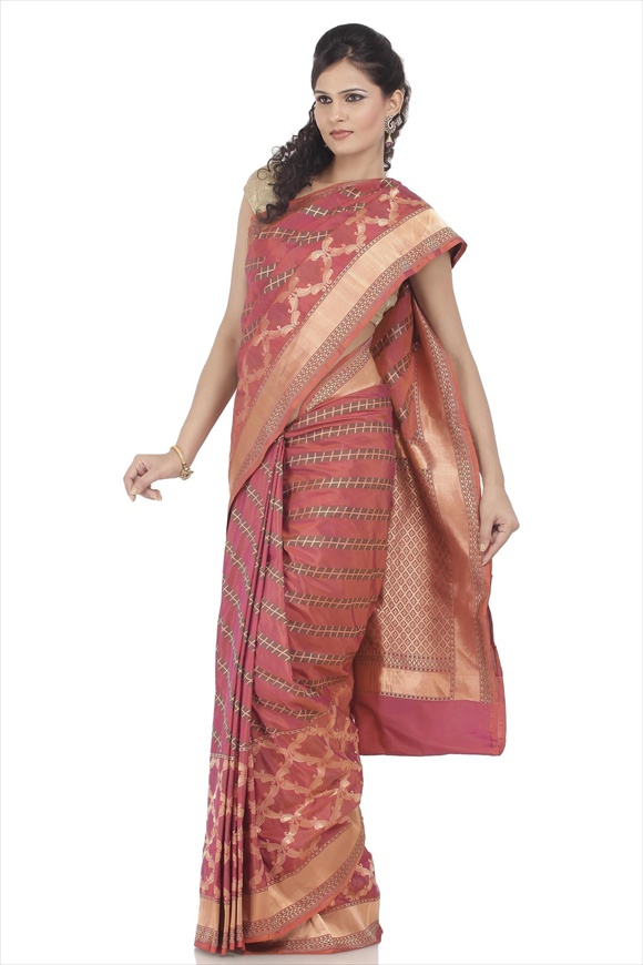 Russett Orange Kattan Silk Banarasi Saree