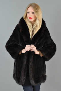 Vintage 1960's brownish black colored sable fur coat
