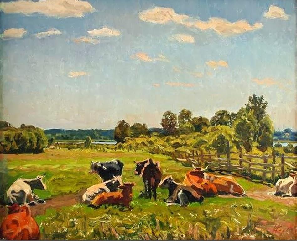 Cuadros modernos pinturas y dibujos modernos paisajes impresionistas al leo - Cuadros de vacas ...