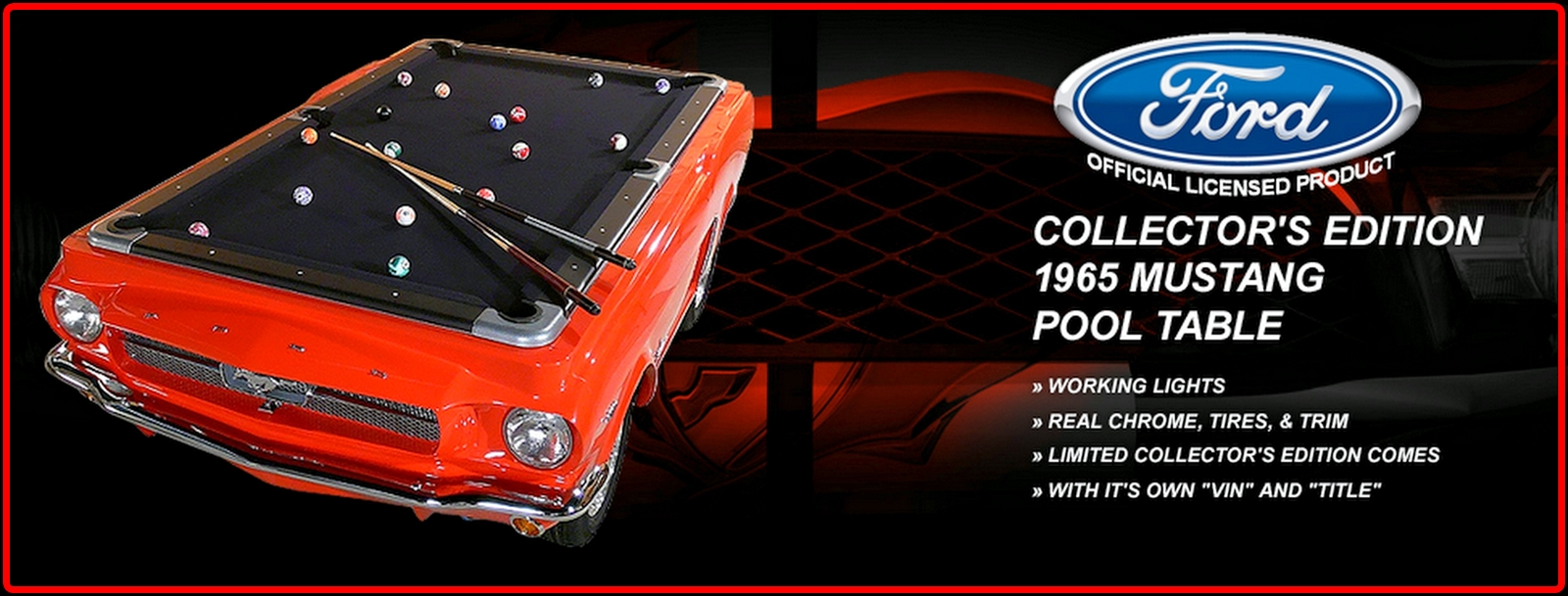 The Collectors Edition Car Pool TablesMustang Shelby Corvette - Mustang pool table