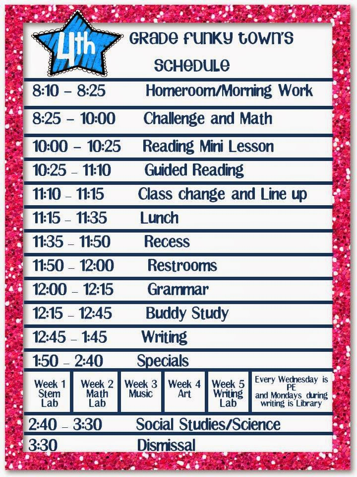 4th grade funky town 4th grade funky town 39 s schedule for Rtu time table 4 th sem 2015
