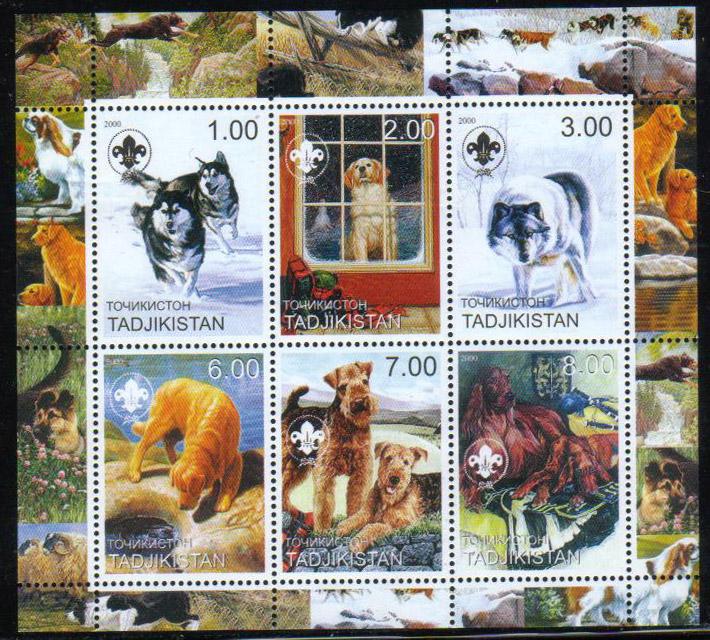 2000年タジキスタン共和国 シベリアン・ハスキー、ゴールデン・レトリーバー、エスキモー犬、ラブラドール・レトリーバー、エアデール・テリア、アイリッシュ・セターの切手シート