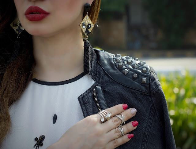 ONLY Denim Studded Biker Jacket, Embellished White Top, Grey Drape Skirt, edgy Party Look, Midi-rings,MAC Russian Red Lipstick
