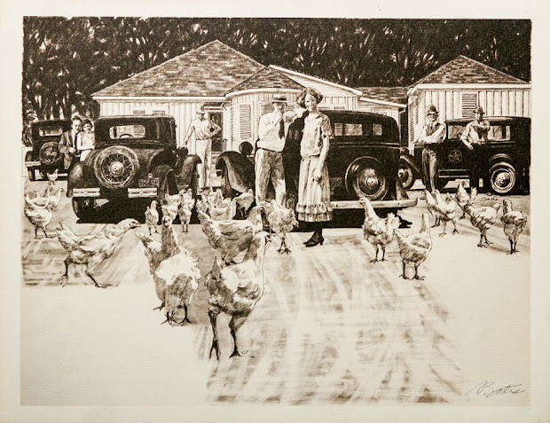 The Chicken Ranch, charcoal drawing, Al Bates