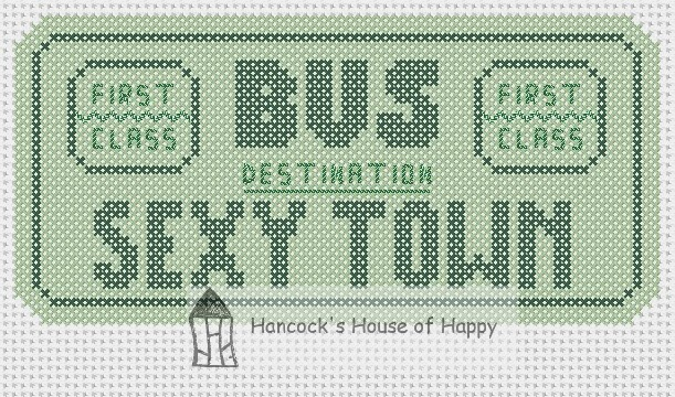 Sexy town vintage bus ticket free cross stitch chart sample