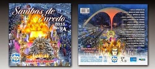 Capa e contra capa do CD Sambas de Enredo do Carnaval 2015 das Escolas de Samba Série A do Rio de Janeiro. Este CD também pode ser encontrado em nosso Canal no YouTube, é só klicar nesse link: https://www.youtube.com/watch?v=eJhjpbmEY4c