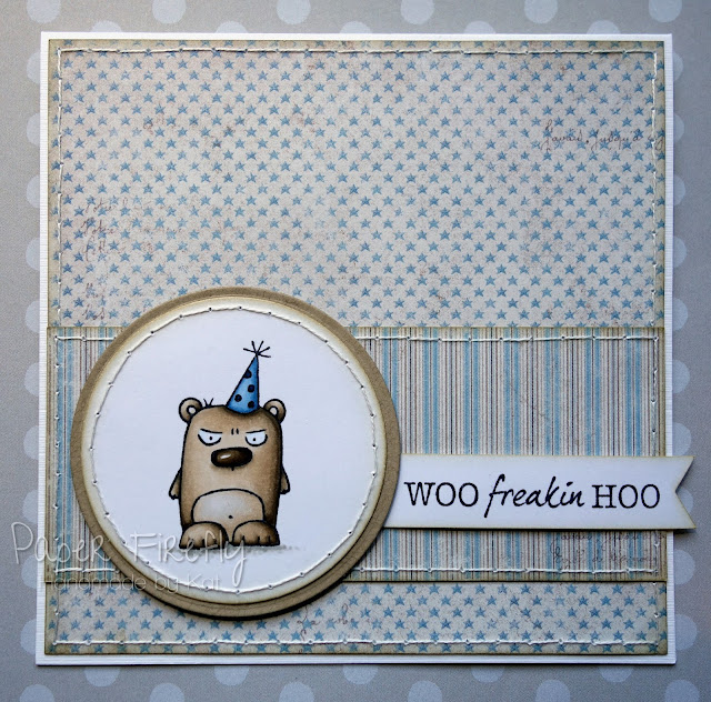 Handmade birthday card featuring party grumpling