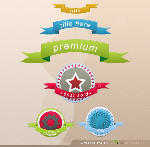 Ribbons and 3 Logos with Ribbons in PSD