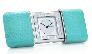Tiffany travel alarm, in Tiffany blue case