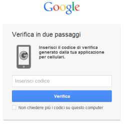 verifica in due passaggi account