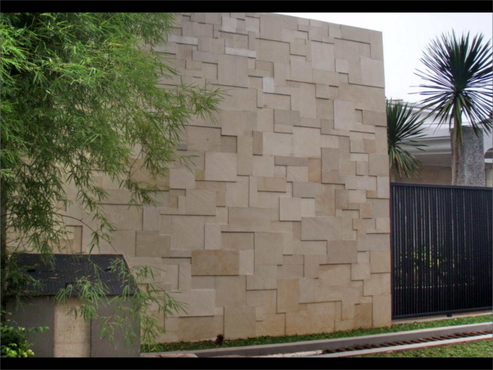 tembok batu alam minimalis: Tembok batu alam minimalis pagar rumah tembok batu alam desain
