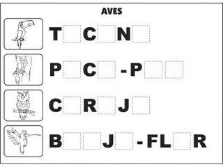 Jogos e atividades para alfabetização - Complete as palavras - Aves