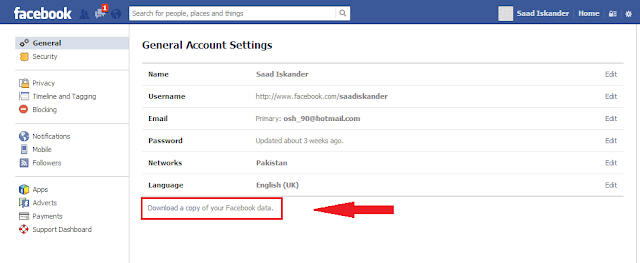 Download a copy of your Facebook data.