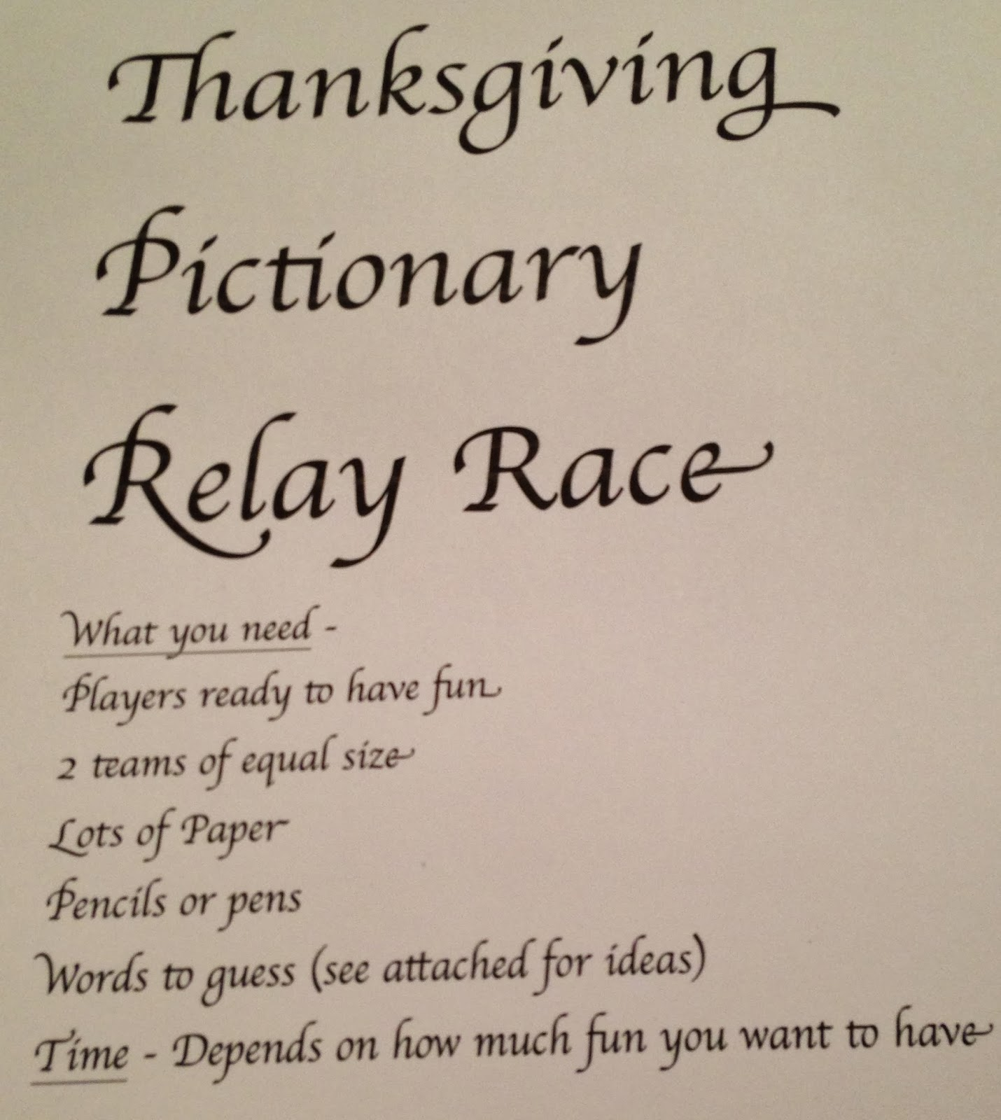 hope floats and more thanksgiving family pictionary relay race