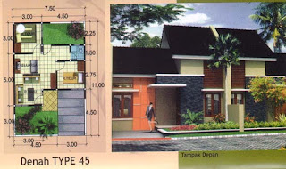 Berikut beberapa gambar denah rumah minimalis type 45