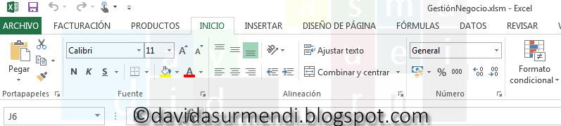 """Grupos de controles en la ficha """"Inicio"""" de Excel 2013"""