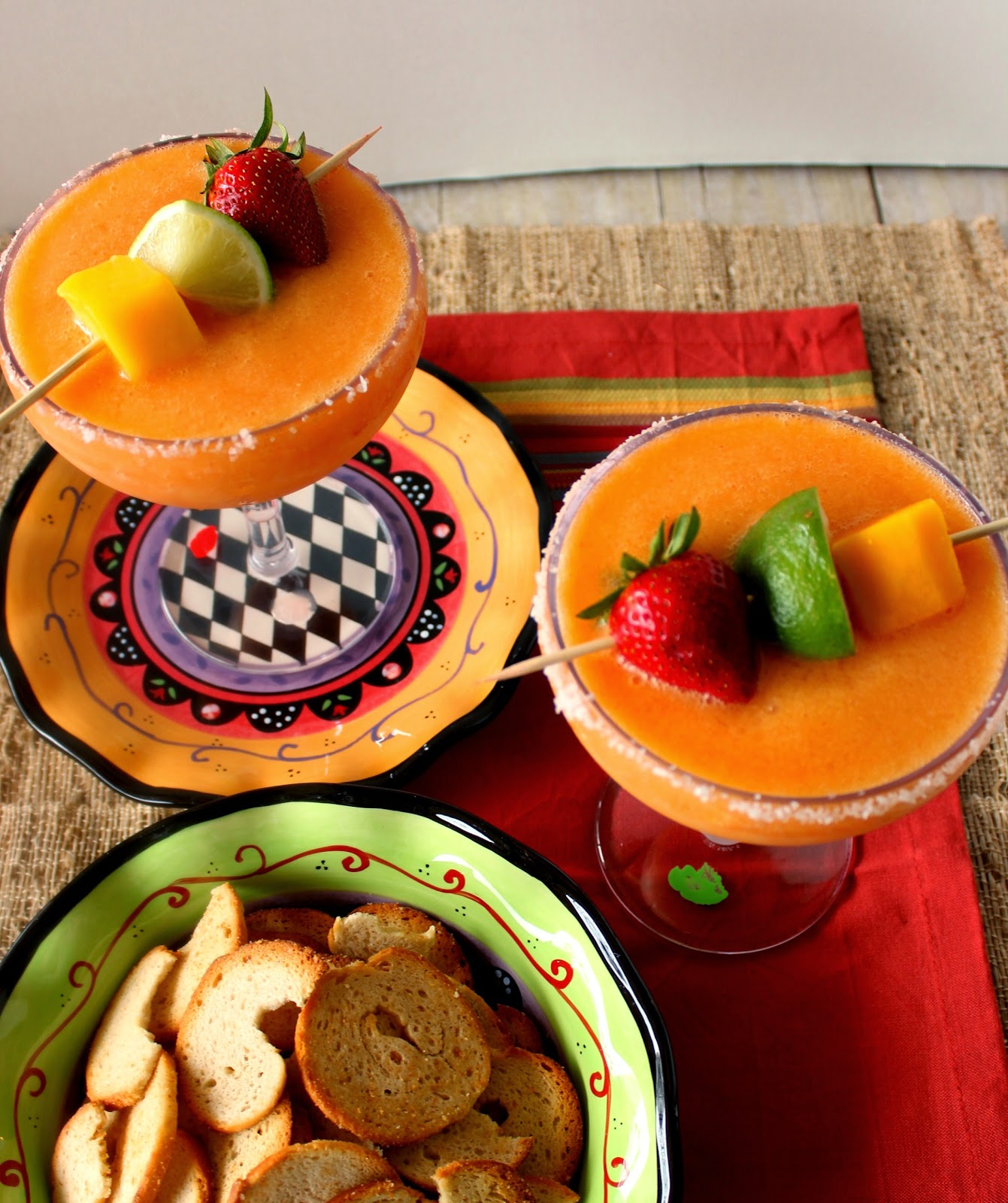 Frozen Mango Strawberry Margarita Recipe via Kudos Kitchen By Renee