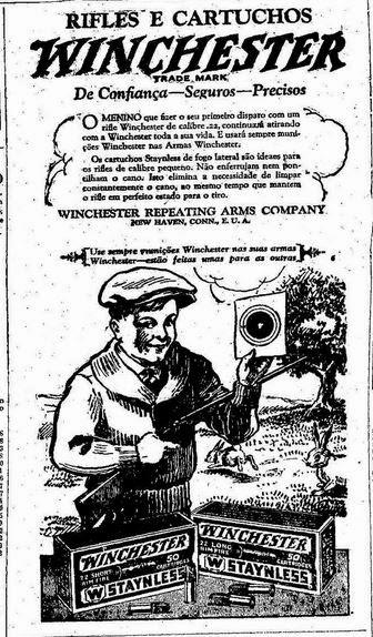 Propaganda incorreta de anúncio de rifle com crianças. Anos 20. 1929.