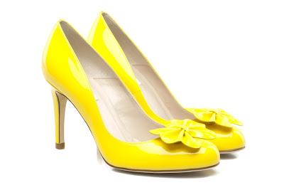 Bright yellow petal shoes from LK Bennett