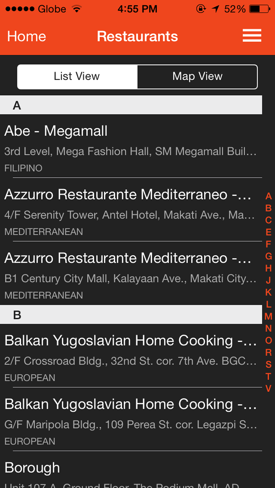 Eat Out Manila App interface for iOS