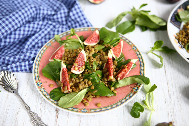 Mache Salad with Lentils and Figs