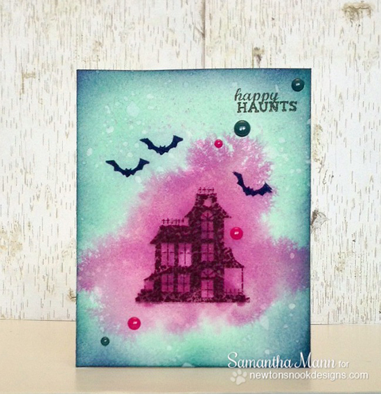 Haunted House Halloween card by Samantha Mann for Newton's Nook Designs | Spooky Street Stamp Set