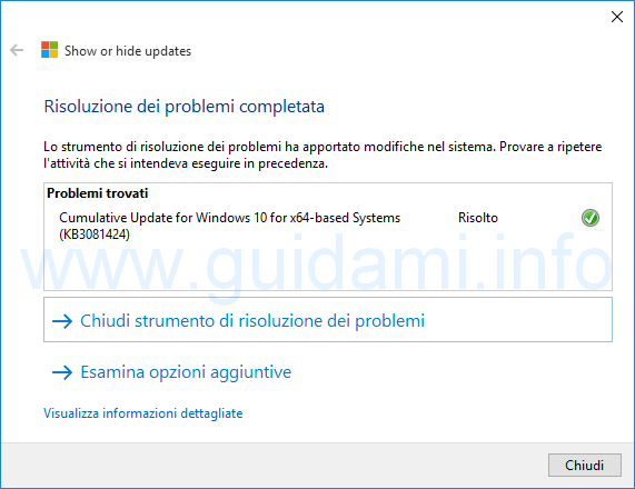 Show or hide update Hide Update aggiornamenti Windows 10 sbloccati