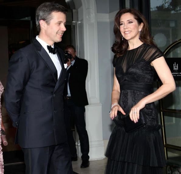 Crown Prince Frederik of Denmark and Crown Princess Mary of Denmark attended the gala celebration at the Hotel d'Angleterre