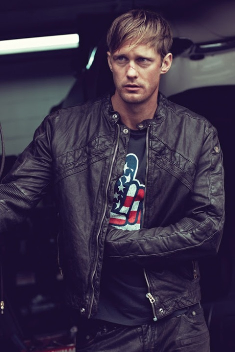 Alexander Skarsgard wearing Diesel Leather Jacket
