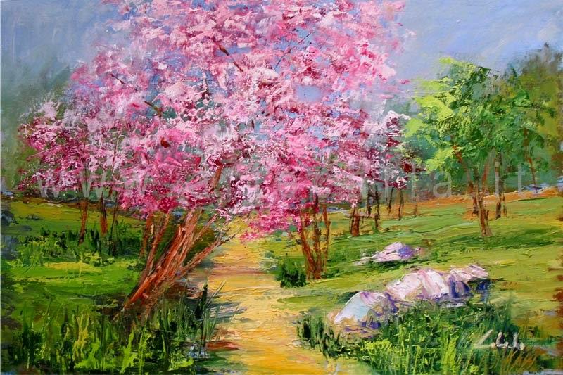 Famoso arteCarlaColombo: Opera - quadro ad olio (paesaggio, primavera  HU42