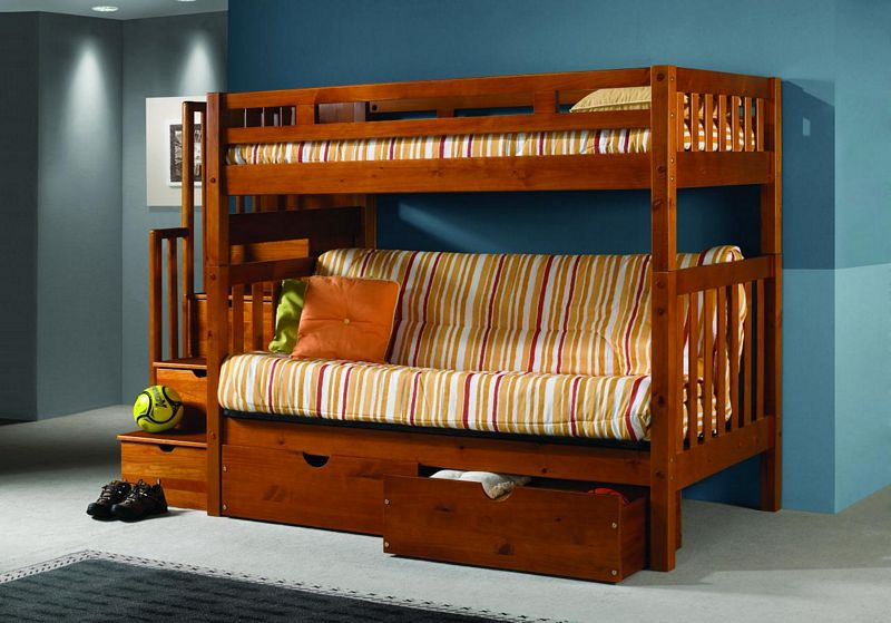 Twin Over Futon Bunk Bed with Stairs 800 x 559