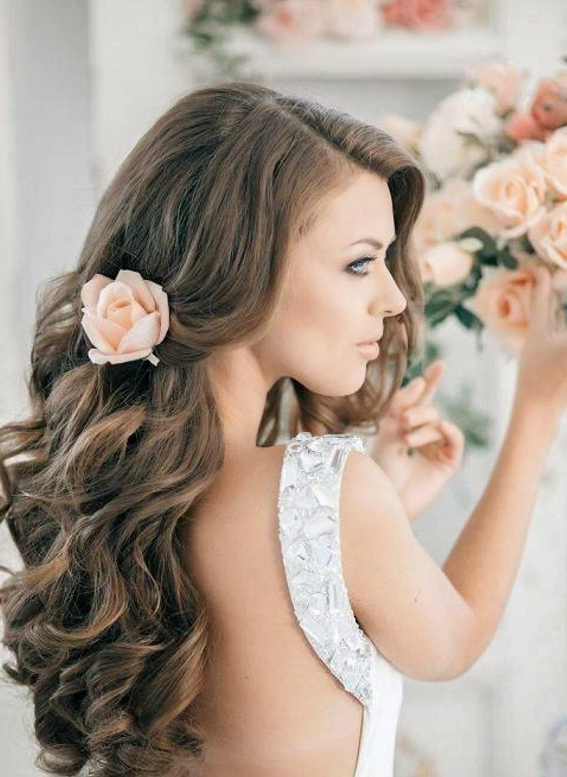 Model Half Up Half Down Wedding Hairstyles DIY Wedding Hairstyles
