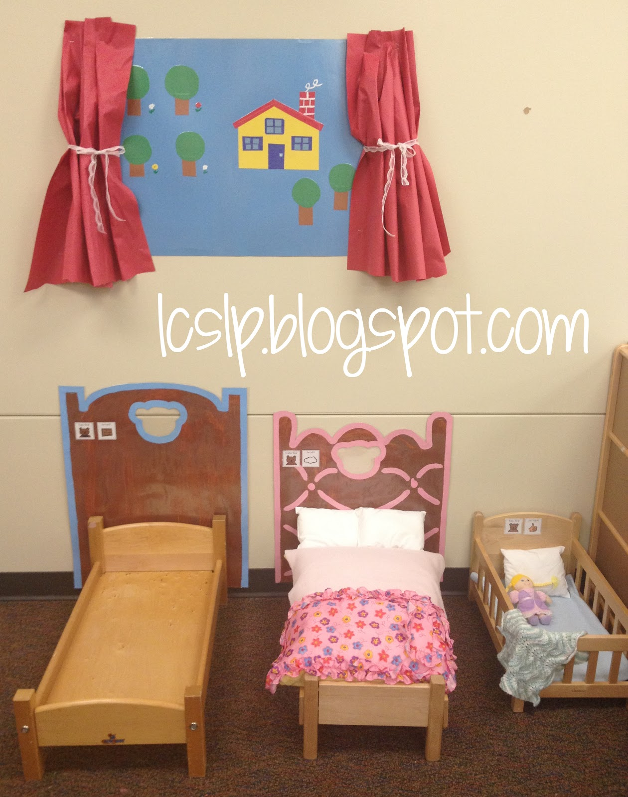 Uncategorized Goldilocks Bed l c slp goldilocks and the three bears on one side of center we set up papa mama baby beds i painted headboards onto posterboard laminated them with visuals for their
