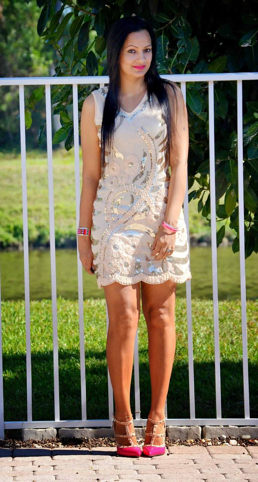 sequin tank dress lovelywholesale stud pink shoes romwe www.sandysandhu.co