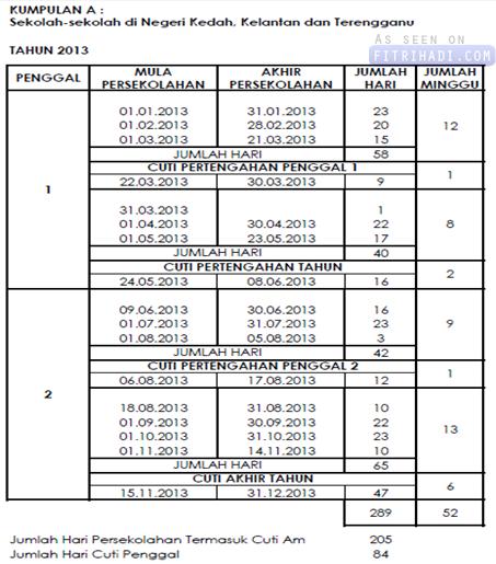 Jadual Penggal Persekolahan & Cuti Sekolah 2013