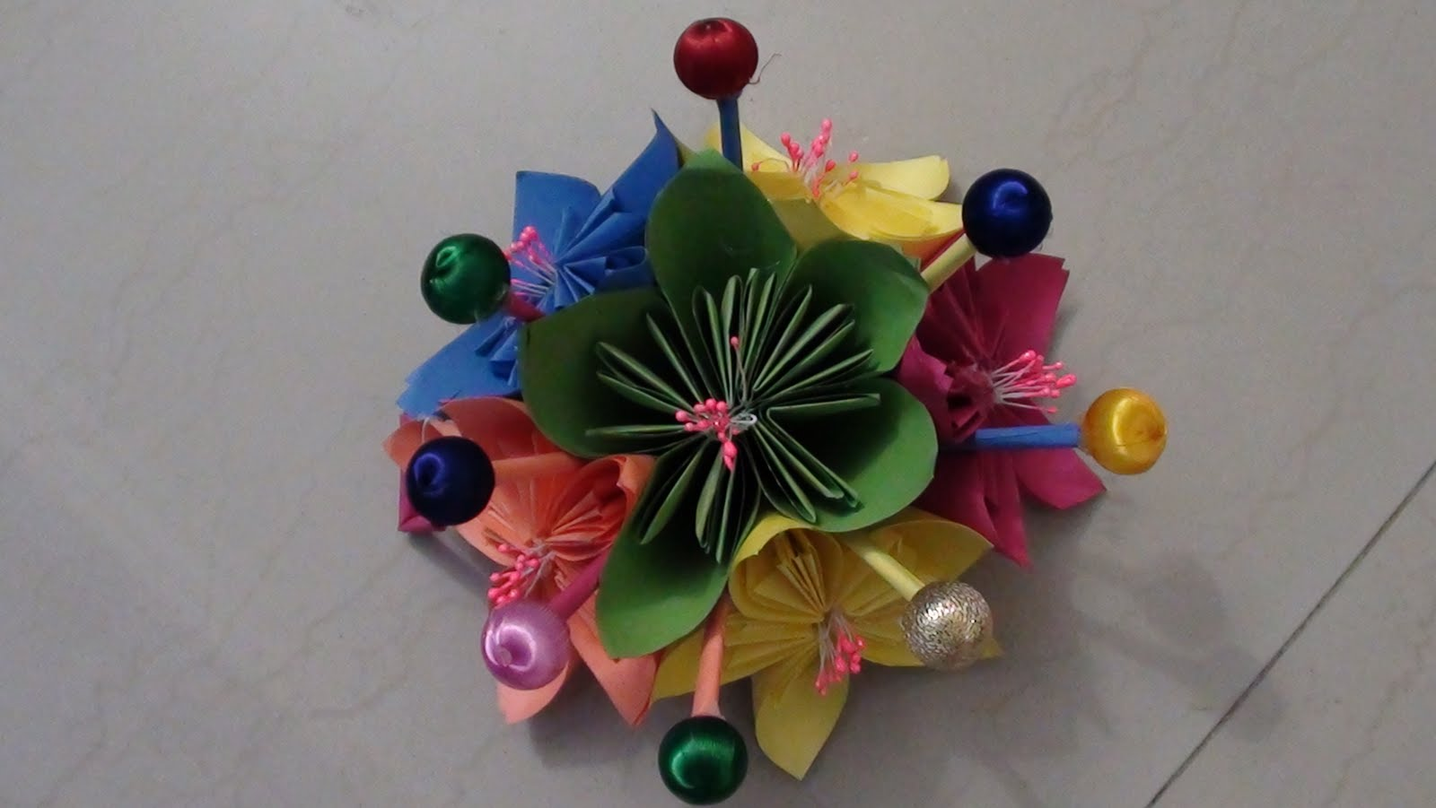 origami - kusudama wall hanging | sudha - all arts  for How To Make Wall Hangings With Paper Step By Step  146hul