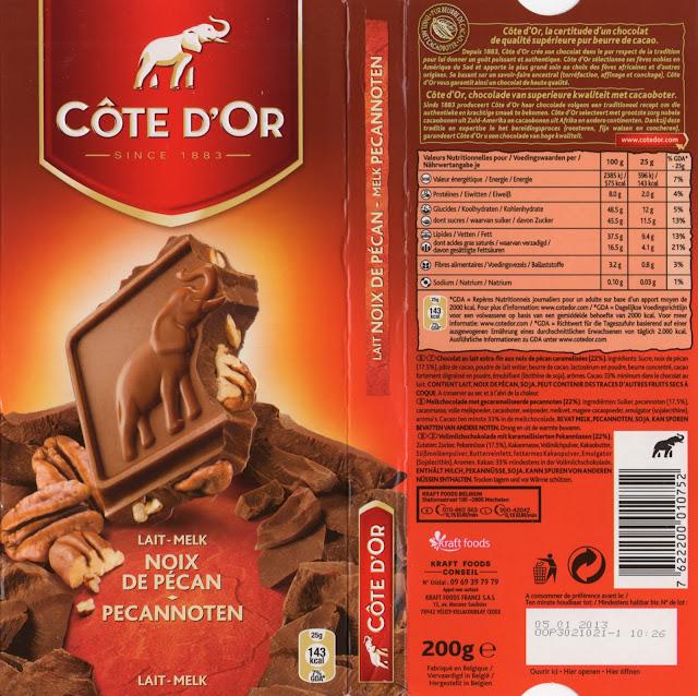 tablette de chocolat lait gourmand côte d'or lait noix de pécan
