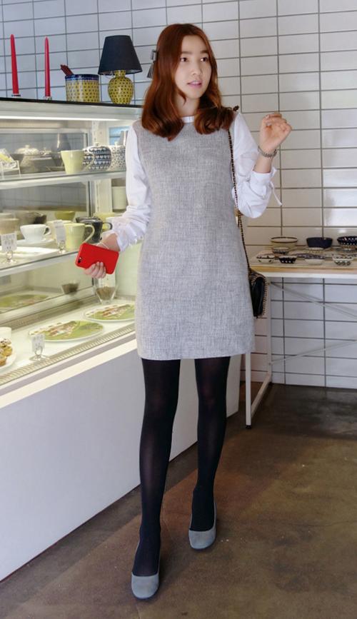 Pleated Neck Tweed Dress